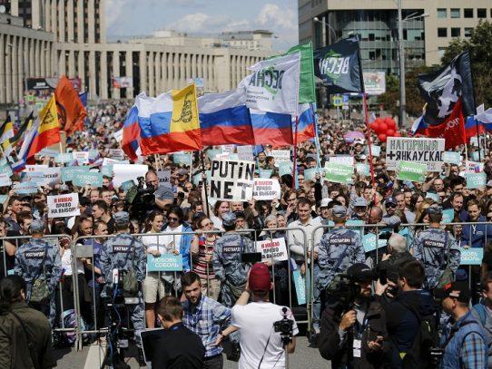 Más de 20.000 manifestantes en Moscú para pedir elecciones municipales libres