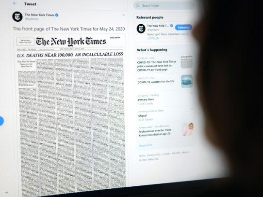 NYTimes homenajea a los muertos por coronavirus en EE.UU.