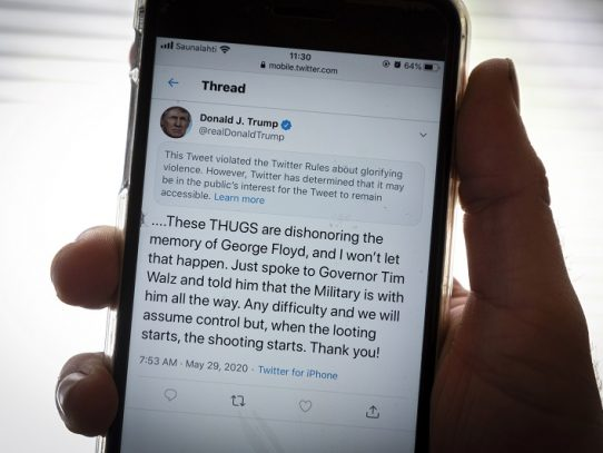 "Twitter señala un tuit de Trump sobre protestas de Minneapolis por ""glorificar la violencia"""