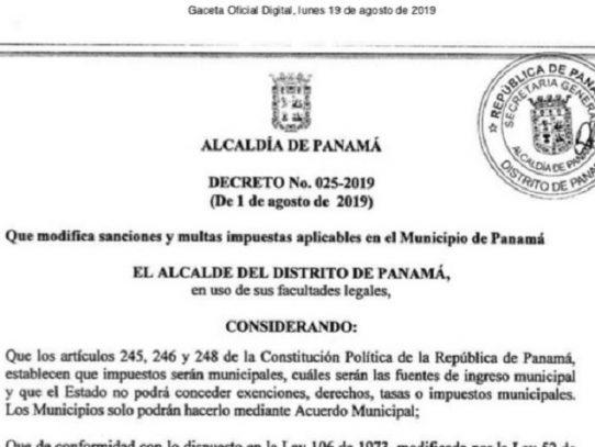 Municipio de Panamá oficializó aumento de sanciones