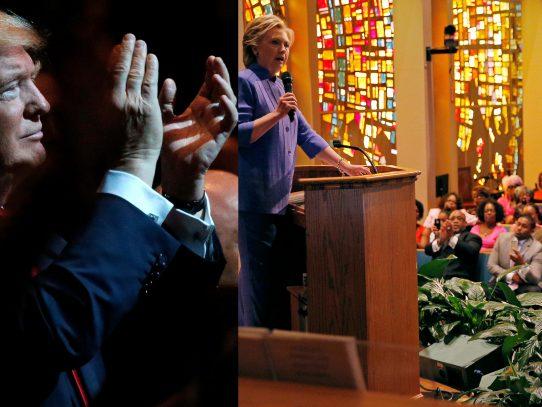 Doland Trump y Hillary Clinton buscan votos en las iglesias