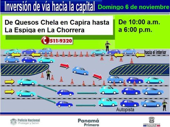 Inversión de carriles en marcha para facilitar regreso a la capital