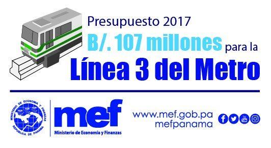 MEF: presupuesto de Línea 3 del Metro será de $107 millones para 2017