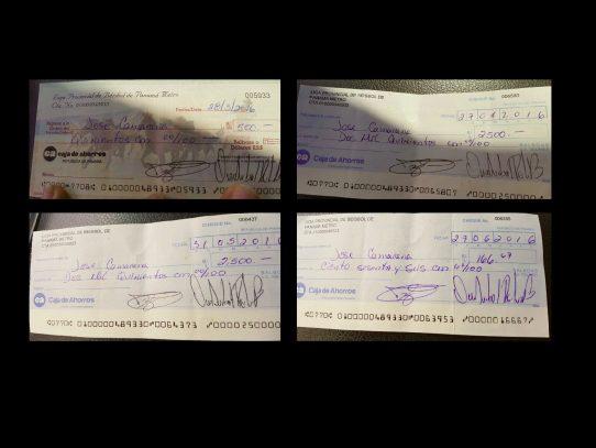 Franz Wever Jr. presenta cheques de pago a receptor José Camarena