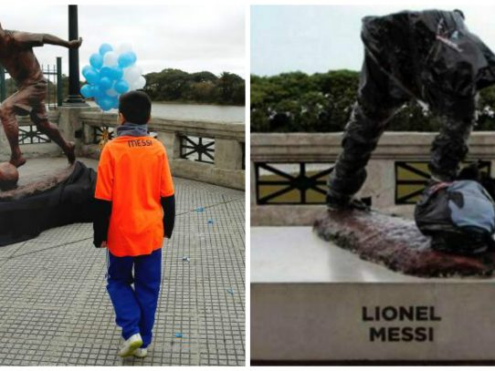 Destrozan escultura de Messi en paseo público de Buenos Aires