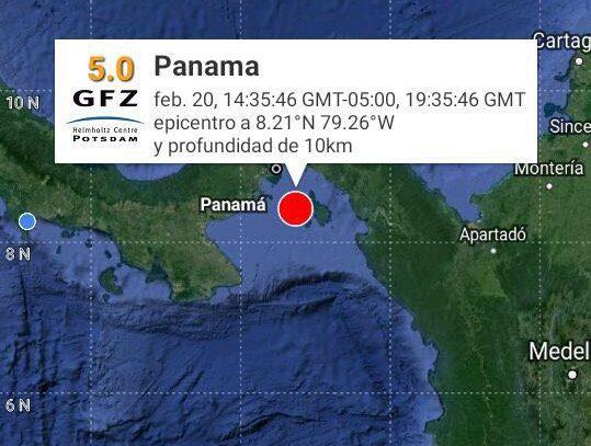Sismo de 5.0 grados sacude la ciudad de Panamá
