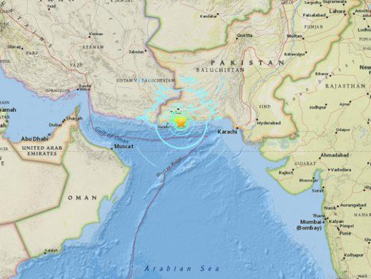 Sismo de 6.3 grados sacude costa sur de Pakistán