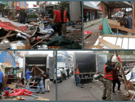 Alcaldía desmantela puestos de buhonería en la peatonal