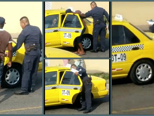 Policía deja a herido solo en un taxi