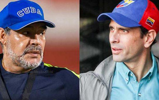 Maradona reafirma apoyo a Maduro y polemiza con opositor Capriles