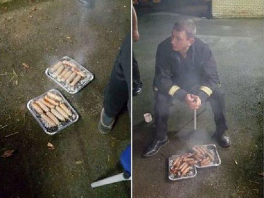 Bomberos británicos hacen una barbacoa con salchichas de unos lechones rescatados