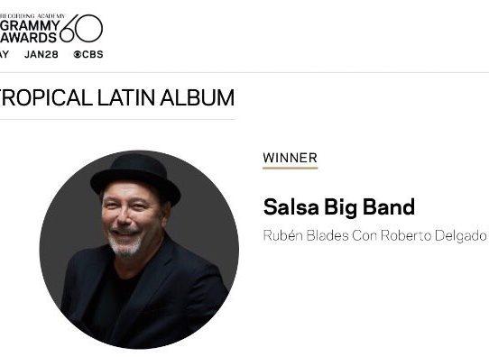 """Rubén Blades se alza con Grammy a mejor álbum tropical latino por """"Salsa Big Band"""""""