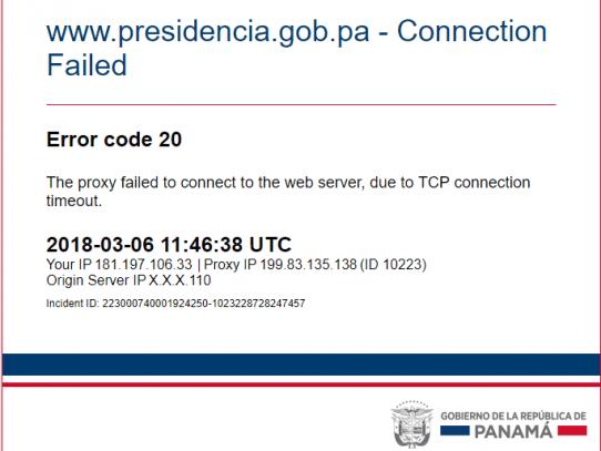 Página web de la Presidencia está caída hace más de 10 horas