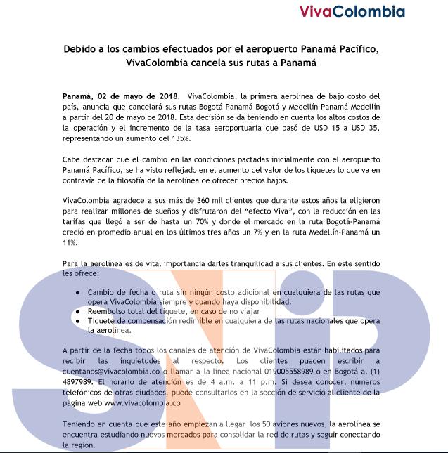VivaColombia cancelará vuelos a Panamá por altos costos operativos
