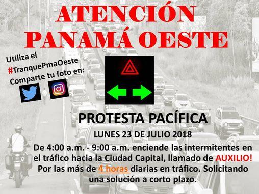 Moradores de Panamá Oeste harán protesta pacífica para exigir solución a tranques