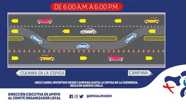 Inversión de carriles en Panamá Oeste iniciará a las 6:00 a.m. de este domingo