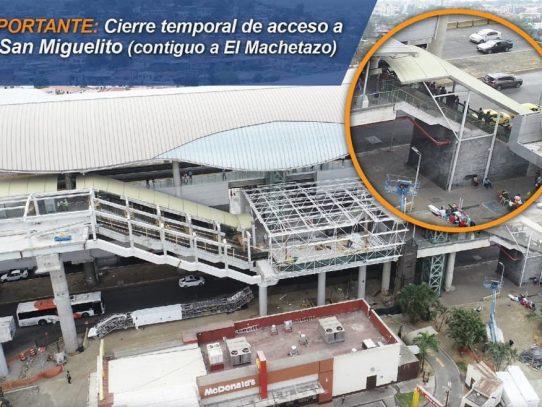 Metro de Panamá anuncia cierre temporal de acceso a estación San Miguelito