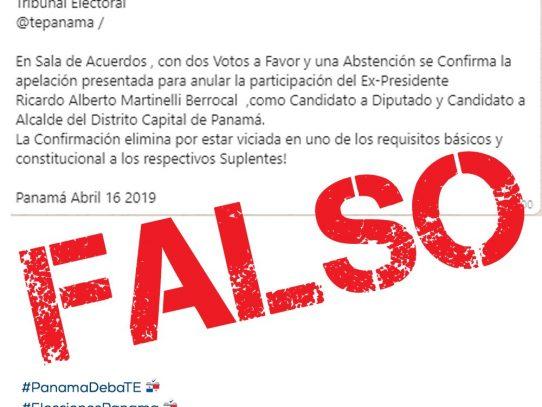 Tribunal Electoral no se ha pronunciado ante apelación de la candidatura de Martinelli