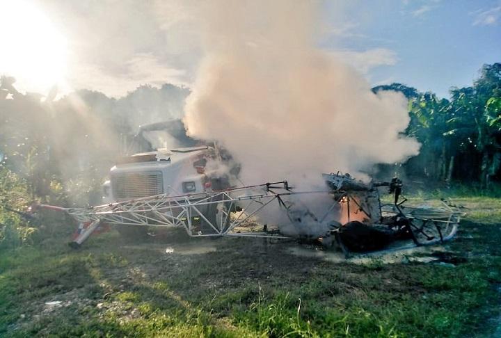 Helicóptero choca con un camión que transportaba combustible en Bocas del Toro