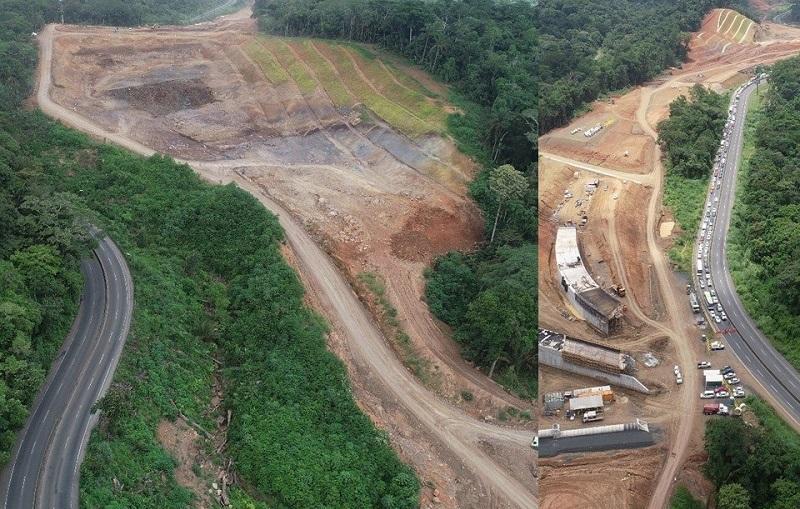 Trabajos de voladura en la vía Panamericana en Cocolí este 20 de enero