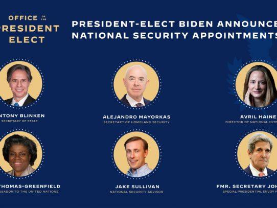 Biden nominará a la primera mujer para liderar la comunidad de inteligencia y al primer latino para dirigir Seguridad Nacional
