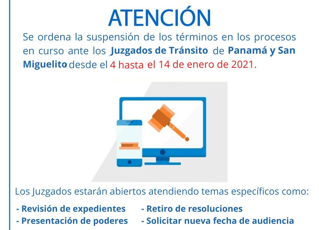 Suspendidos trámites en Juzgados del Tránsito de Panamá y San Miguelito