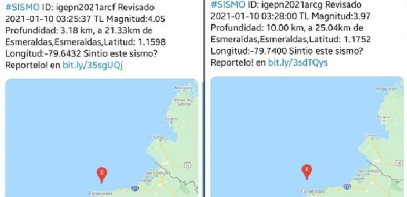 Reportan doce sismos entre 2,6 y 4 de magnitud frente a costa norte de Ecuador