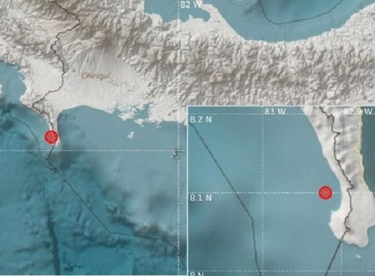 Se reporta sismo de 4.8 en la provincia de Chiriquí