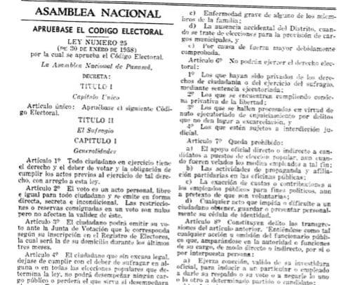Aniversario de la aprobación del primer Código Electoral