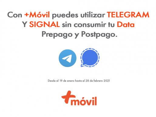 Usuarios de +Móvil tendrán a su disposición de manera gratuita acceso a los Apps de mensajeria Telegram y Signal