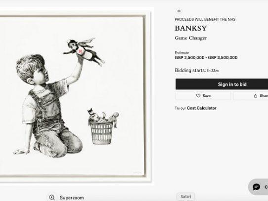 Un Banksy a subasta en beneficio del servicio de salud británico en plena pandemia