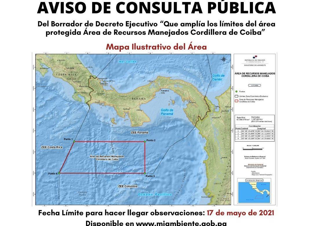 17 de mayo: cierre de consulta pública sobre Decreto Ejecutivo referente a cordillera de Coiba