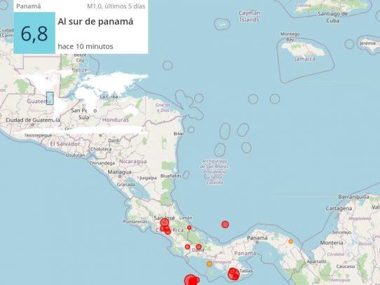 Fuerte sismo de magnitud 6.8 sacude Chiriquí