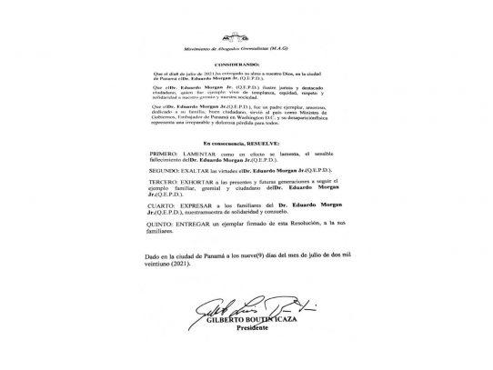 MAG lamenta fallecimiento del Dr. Eduardo Morgan Jr.