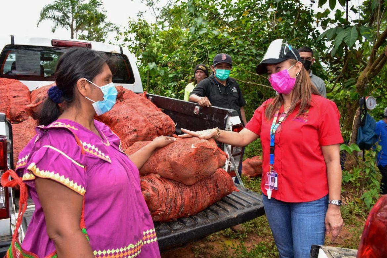 Mujeres rurales Ngäbe reciben 7 mil libras de ñame y ñampí