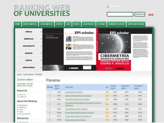 UNIVERSIDAD DE PANAMÁ: primer lugar en el Ranking Web de universidades