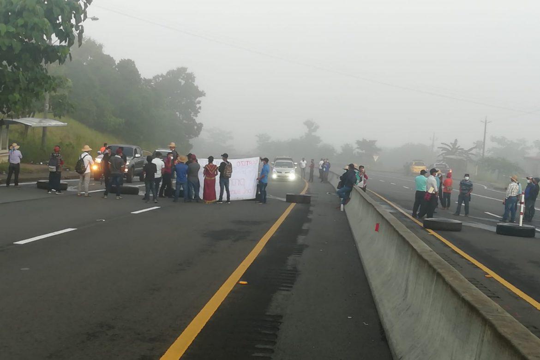 Campesinos e indígenas cierran los 4 paños de la vía interamericana en Veraguas