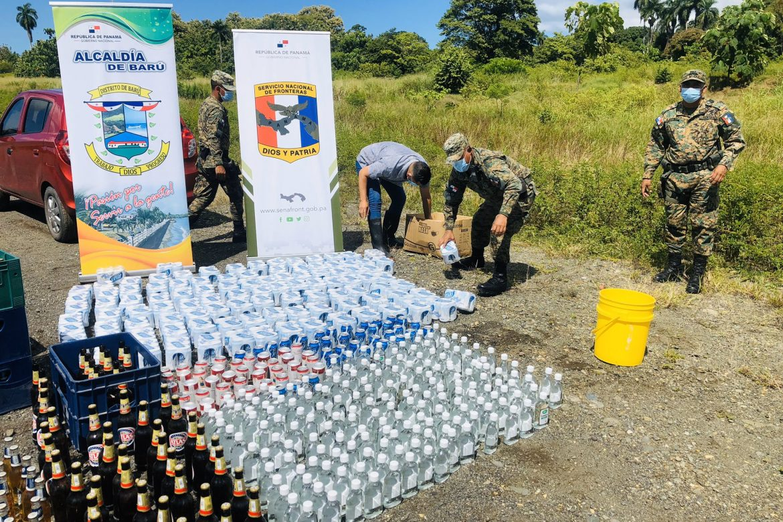 Destruyen 2,000 unidades de distintas bebidas alcohólicas en Barú