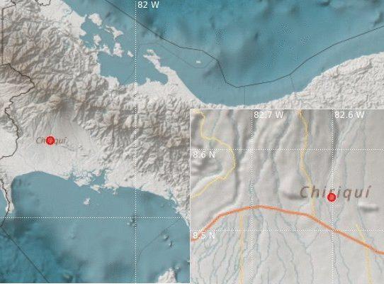 Sismo de magnitud 3.4 se registró hoy en la provincia de Chiriquí