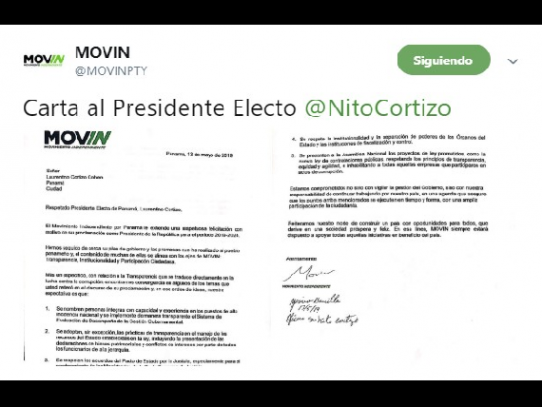 Movin pide a presidente electo Cortizo, cumplir sus promesas de campaña