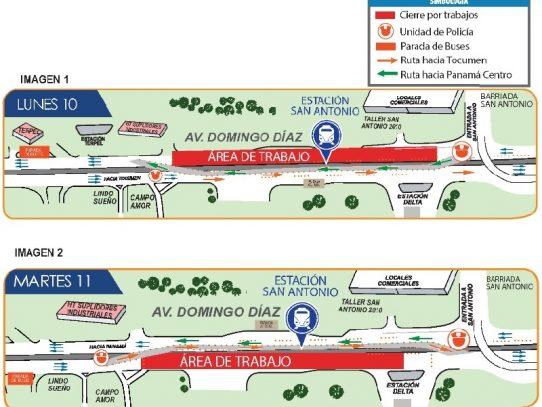 Desvío en la Av. Domingo Díaz por desmontaje de puente peatonal provisional