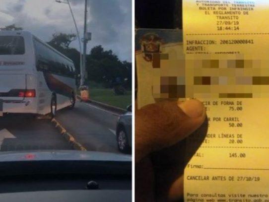 Multan por $145 a chófer de bus que manejaba desordenado por la Cinta Costera 3