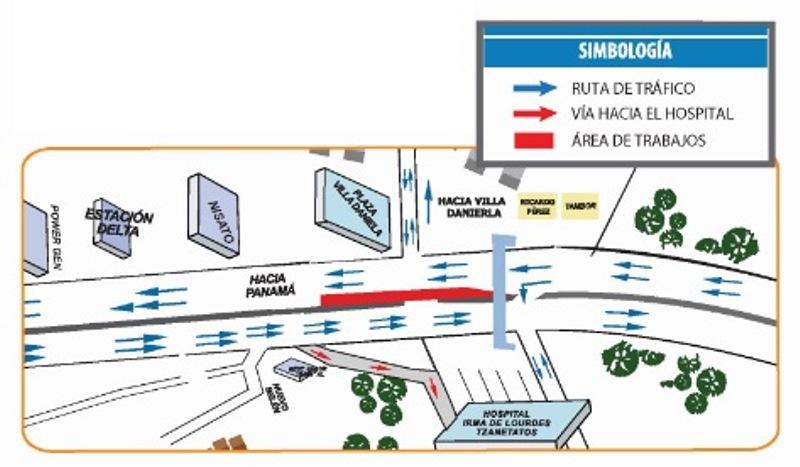 Realizarán reducción de carriles frente al Hospital del Este