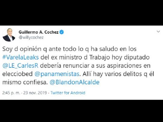 """""""Carles debe renunciar a aspiraciones en Partido Panameñista"""": Cochez"""