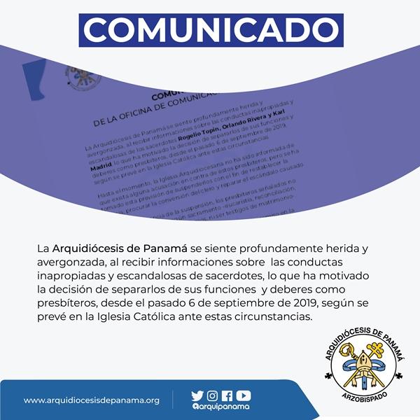 Arquidiócesis de Panamá herida y avergonzada por conducta inapropiada de tres sacerdotes