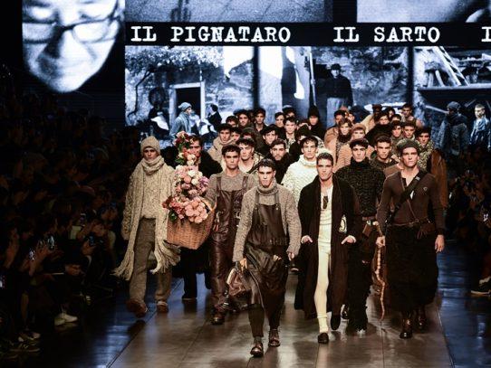 Tejidos reciclados en Armani y oficios antiguos en D&G en la Semana de moda en Milán