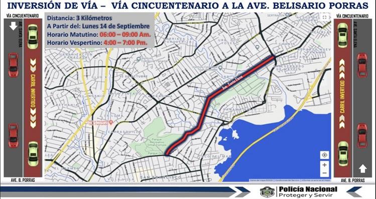Inversión de carriles de la vía Cincuentenario a la vía Porras desde el 14 de septiembre
