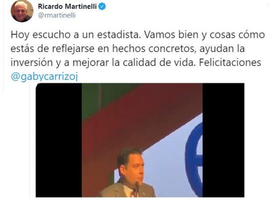 "Ricardo Martinelli elogia  en Twitter al vicepresidente  ""Gaby"" Carrizo"