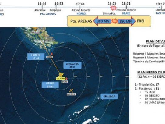 Declaran siniestrado el avión militar de la Fuerza Aérea Chilena