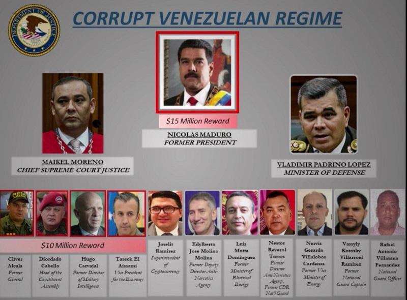 EE.UU. ofrece una recompensa de USD 15 millones por el arresto de Maduro